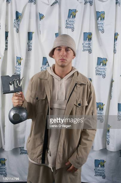 American rapper Eminem with his award for best hiphop at the MTV Europe Music Awards held at The Point theatre Dublin 11th November 1999