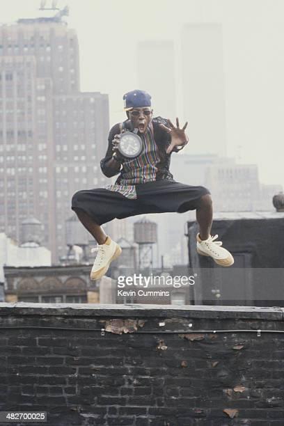 American rapper Flavor Flav of hip hop group Public Enemy circa 1988