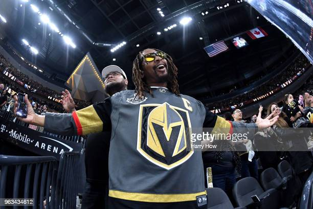 American rapper Lil Jon celebrates the Vegas Golden Knights' 64 win over the Washington Capitals in Game One of the 2018 NHL Stanley Cup Final and...