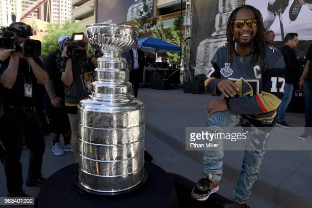 American rapper Lil Jon poses with the Stanley Cup prior to Game One of the 2018 NHL Stanley Cup Final between the Vegas Golden Knights and the...