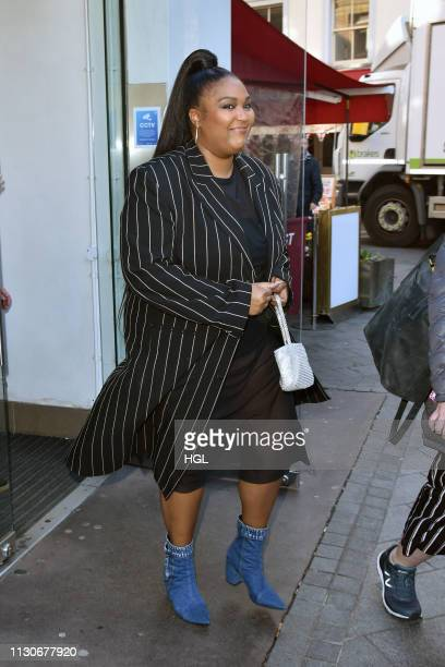 American Rapper Lizzo seen at the Global Studios for the Capital breakfast show on February 19 2019 in London England