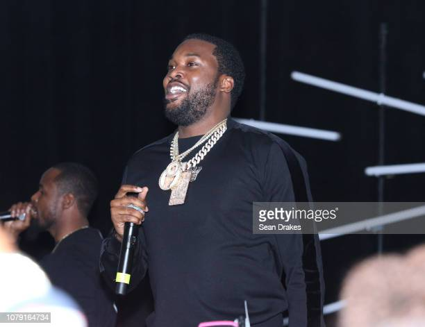 American rapper Meek Mill performs at the Bacardi No Commission Marquee Performance hosted by Swizz Beatz and The Dean Collection at Faena Forum as...