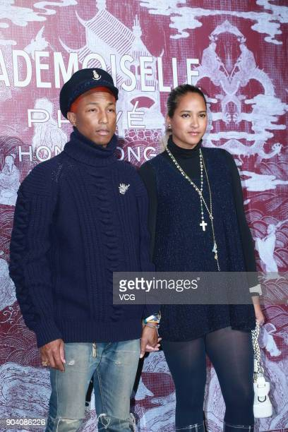 American rapper Pharrell Williams and wife Helen Lasichanh attend the CHANEL 'Mademoiselle Prive' Exhibition Opening Event on January 11 2018 in Hong...