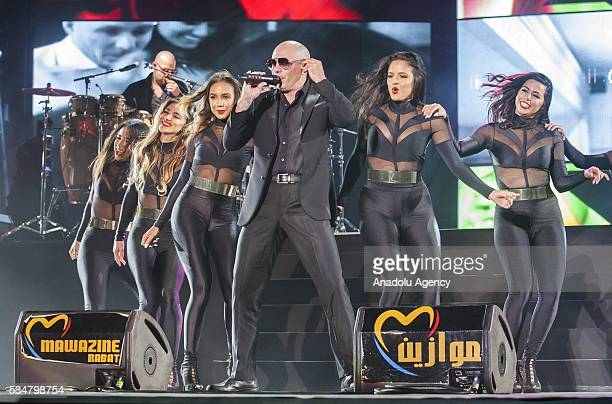 American rapper Pitbull performs during the 15th International Mawazine Music festival at OLM Souissi in Rabat Morocco on May 28 2016