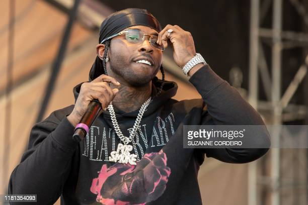 American rapper Pop Smoke performs during the Astroworld Festival at NRG Stadium on November 9 2019 in Houston Texas