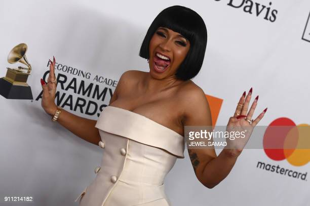 American rapper singer songwriter and media personality Cardi B arrives for the traditionnal Clive Davis party on the eve of the 60th Annual Grammy...