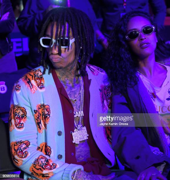American rapper singersongwriter and actor Wiz Khalifa and his girlfriend Izabela Guedes attend Bellator 192 at The Forum on January 20 2018 in...