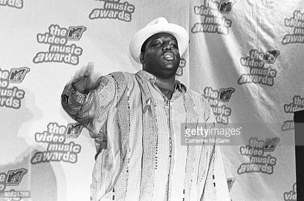 American rapper the Notorious BIG aka Christopher Wallace aka Biggie Smalls at the 12th Annual MTV Awards on September 7 1995 in New York City
