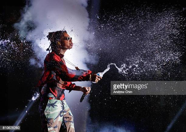 American rapper Wiz Khalifa performs on stage during FVDED In The Park at Holland Park on July 7 2017 in Surrey Canada