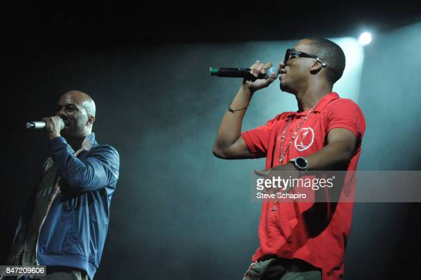 American Rappers Common and Lupe Fiasco perform onstage during the Kanye West Foundation Concert at Chicago Theatre Chicago Illinois June 8 2010