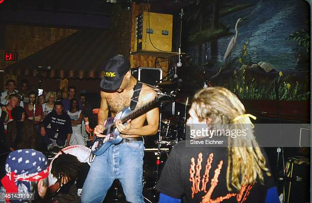 American rap/rock band Rage Against The Machine performs on stage at the Wetlands Preserve nightclub January 21 1992