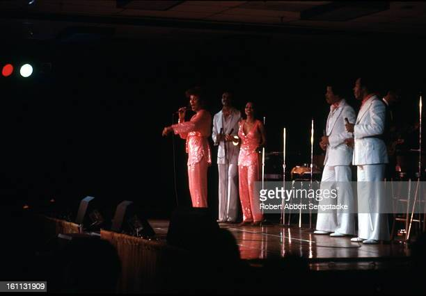 American RB and pop group the 5th Dimension performs onstage at an unidentified venue early to mid 1970s Pictured are from left Florence LaRue...