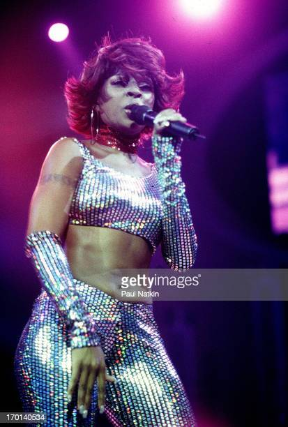 American RB and pop singer Mary J Blige performs onstage Chicago Illinois August 3 2000