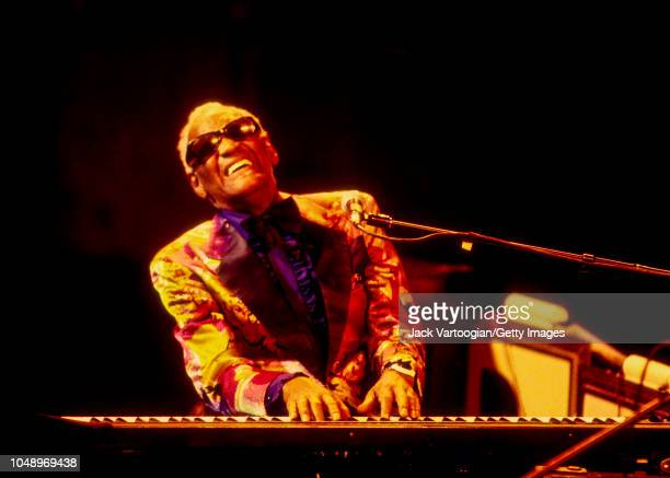 American R&B and Soul musician and band leader Ray Charles plays piano as he performs during a JVC Jazz Festival concert at Avery Fisher Hall at...
