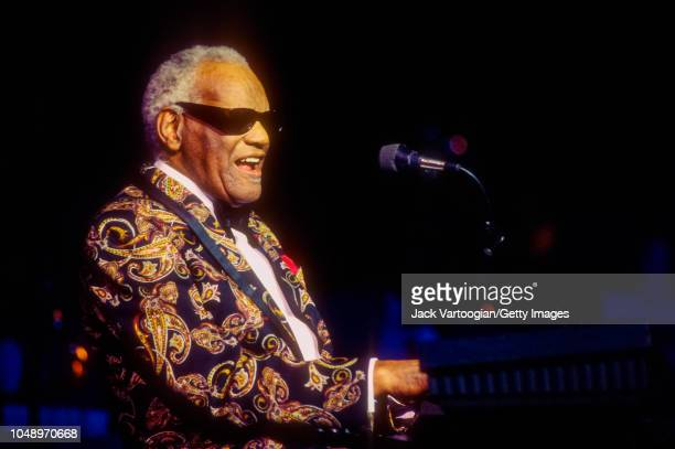 American R&B and Soul musician and band leader Ray Charles plays piano as he performs at Radio City Music Hall, New York, New York, August 10, 1996.