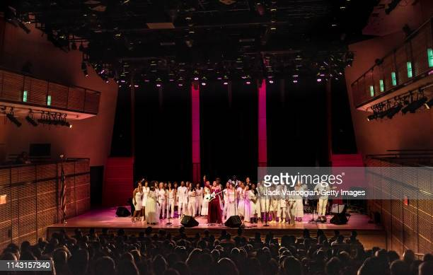 American R&B and Soul singer Deva Mahal plazys guitar as she performs, with special guests the Resistance Revival Chorus, during a concert in...