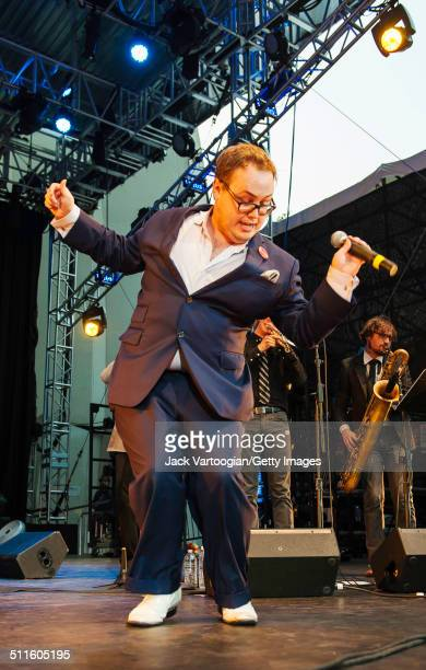 American RB and Soul singer Paul Janeway leads his band St Paul and the Broken Bones at the Lincoln Center Out of Doors Americanafest NYC at Damrosch...