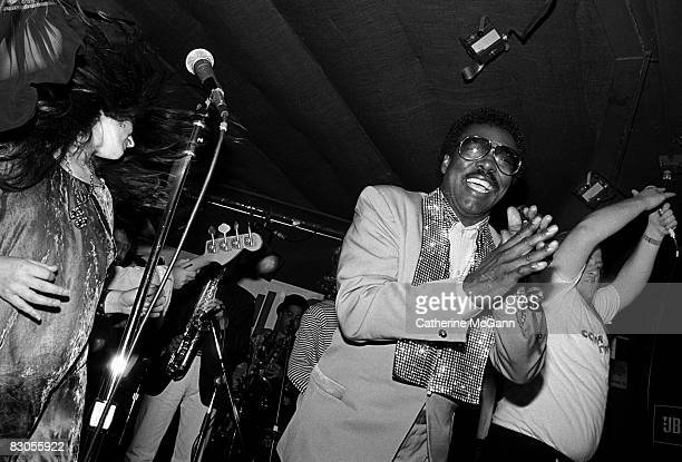 American RB and soul singer Wilson Pickett performs at a party for the release of the film The Commitments on August 13 1991 in New York City New York