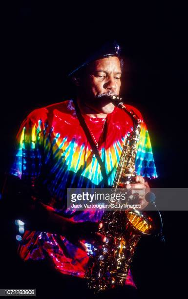 American R&B, Funk, and Jazz musician Charles Neville plays alto saxophone as he performs with the Neville Brothers at Central Park SummerStage, New...