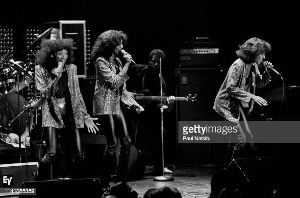 American RB Funk and Soul group Sister Sledge perform onstage at the Park West Chicago Illinois May 19 1980 Pictured are fore from left sisters Kim...