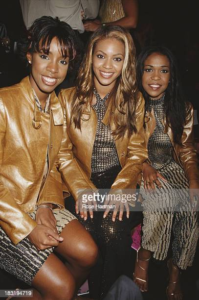 American RB girl group Destiny's Child attend the 'Betsey Johnson Spring 2001 Collection' fashion show New York City 2000 L R are Kelly Rowland...