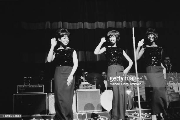 American R&B girl group The Cookies perform at the Apollo Theater in New York City, circa 1962.