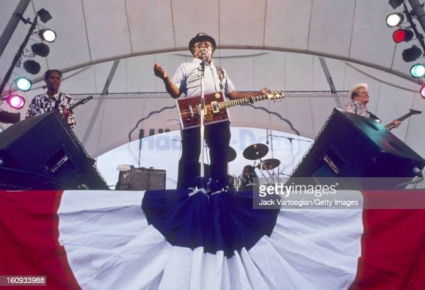 American RB musician Bo Diddley performs at South Sea Seaport Summerpier New York New York July 16 1992