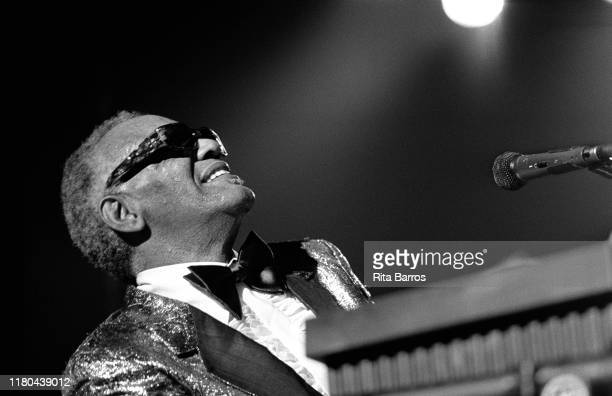 American R&B, Pop, Country, and Soul musician Ray Charles plays piano as he performs on stage at the Casino do Estoril, Cascais, Portugal, June 22,...