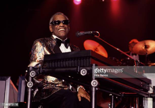 American RB Pop Country and Soul musician Ray Charles plays piano as he performs onstage at the Casino do Estoril Cascais Portugal July 22 1988