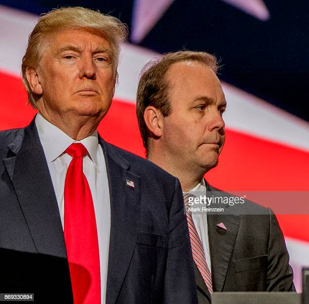 American real estate developer and presidential candidate Donald Trump and campaign advisor Rick Gates on stage during the sound check on the final...
