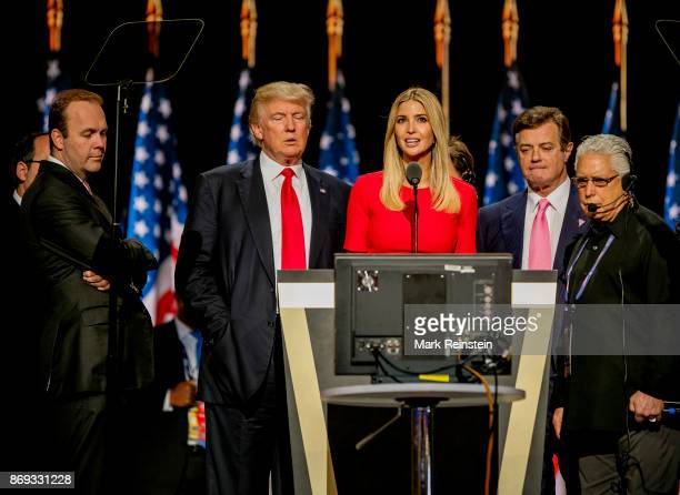 American real estate developer and presidential candidate Donald Trump and his daughter Ivanka Trump on stage during the sound check on the final day...