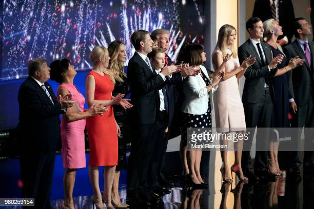 American real estate developer and presidential candidate Donald Trump and his family during the Republican National Convention at Quicken Loans...
