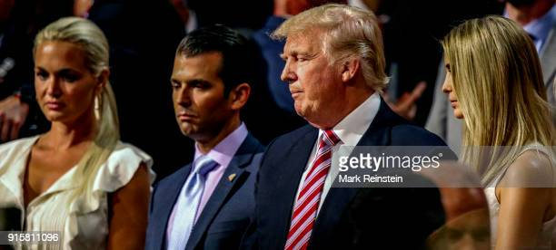 American real estate developer and presidential candidate Donald Trump stands with his daughterinlaw Vanessa Trump son Donald Trump Jr and daughter...