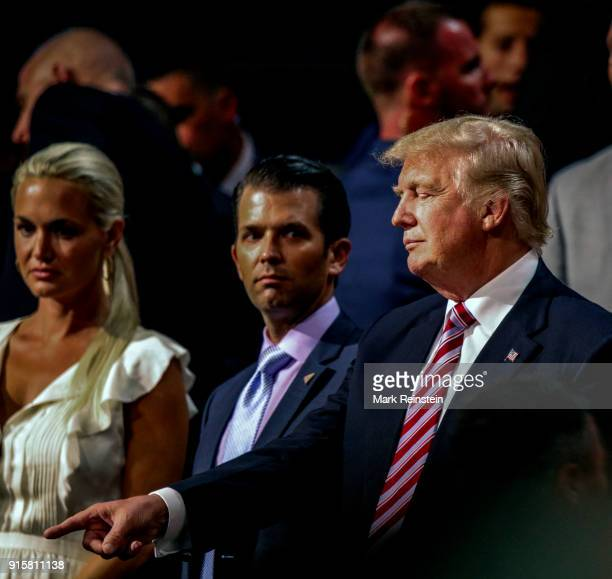 American real estate developer and presidential candidate Donald Trump stands with his daughterinlaw Vanessa Trump and son Donald Trump Jr during the...