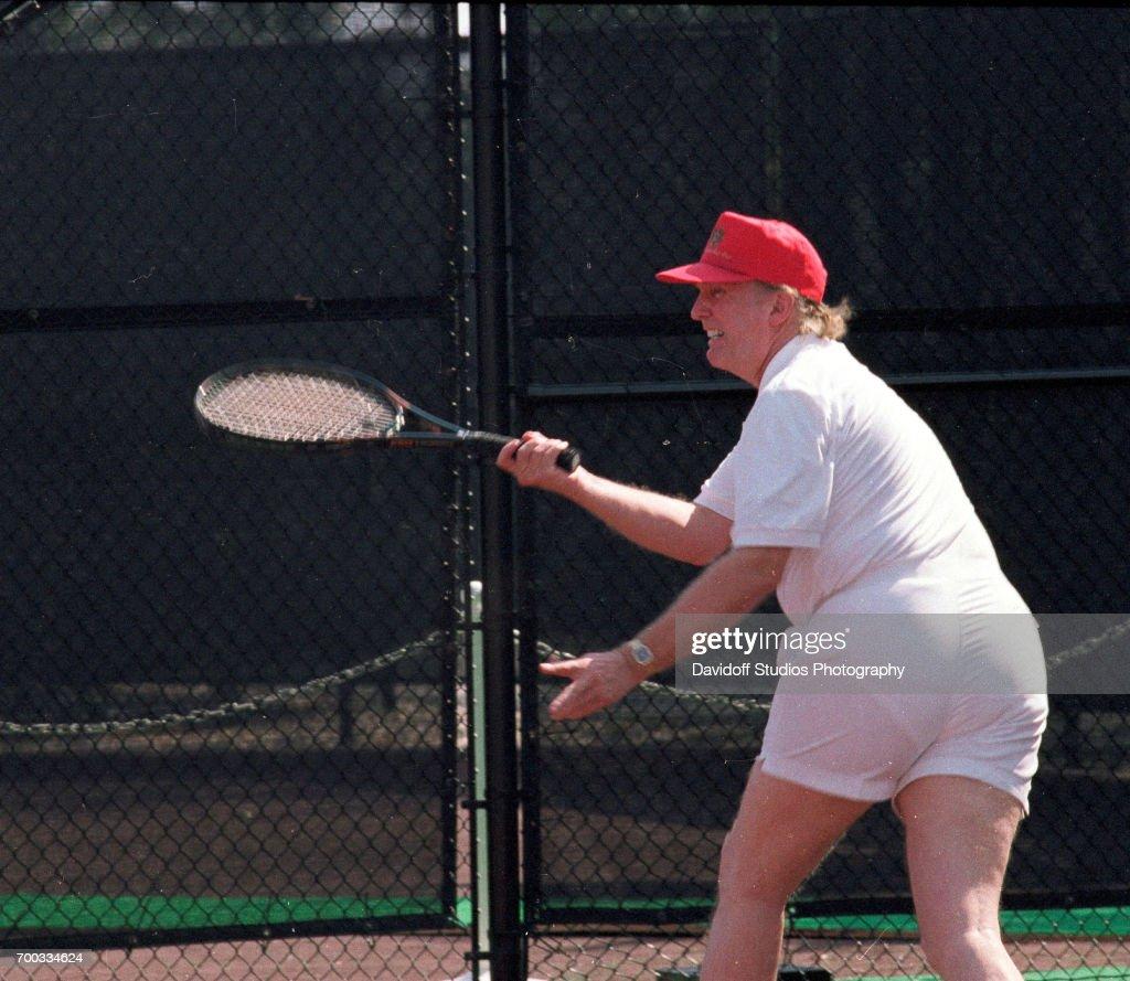 American Real Estate Developer Donald Trump Plays Tennis