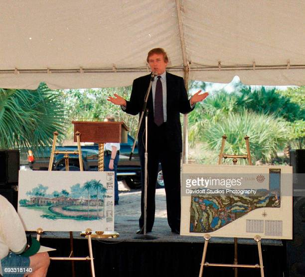 American real estate developer Donald Trump speaks from a stage at the Trump International Golf Club groundbreaking ceremony Palm Beach Florida...