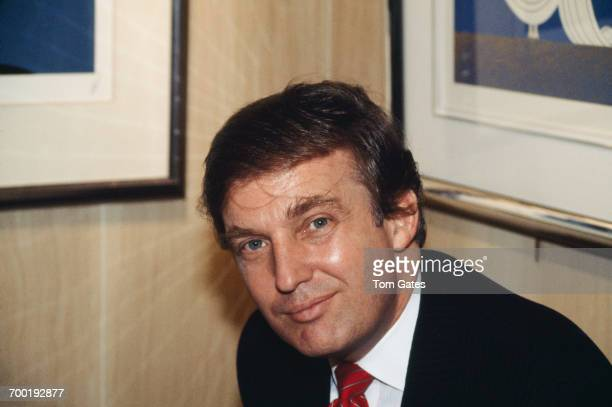 American real estate magnate Donald Trump at a party held at the Circle Gallery in Trump Tower New York City December 1987 The event marks the 95th...