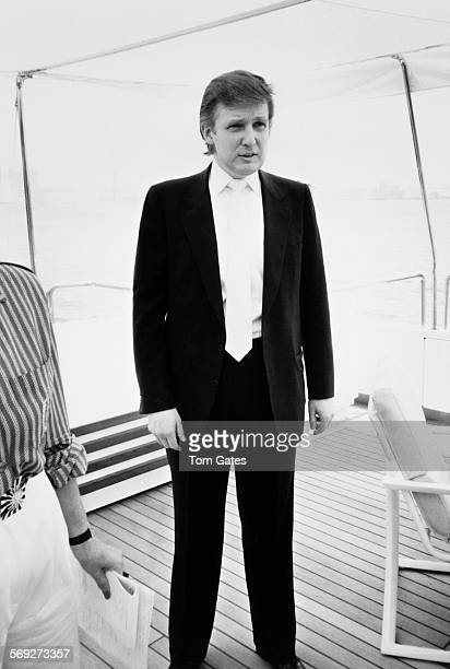 American real estate magnate Donald Trump at a press preview of his newly refurbished 85metre motor yacht Trump Princess which is moored opposite the...