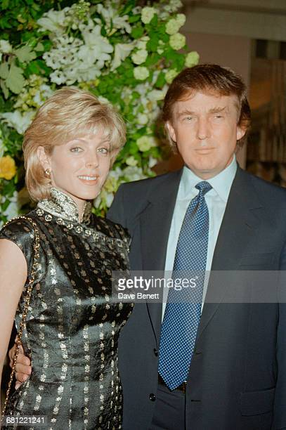 American real estate magnate Donald Trump with his second wife Marla Maples at Claridge's hotel London to host a launch event for his New York hotel...