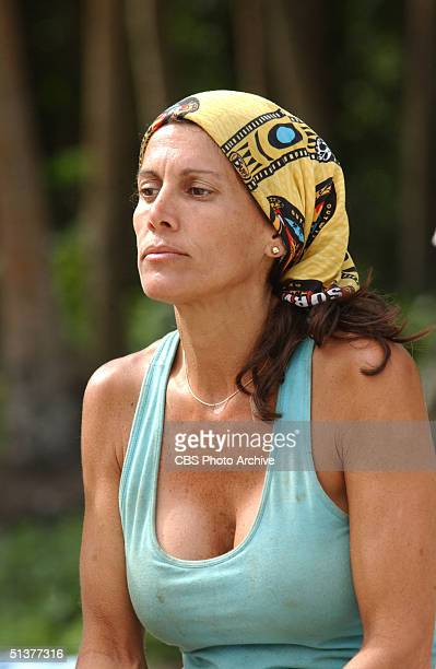 American reality show participant and ersatz castaway Lisa Keiffer looks into the distance as she siots on the beach during the second episode of...