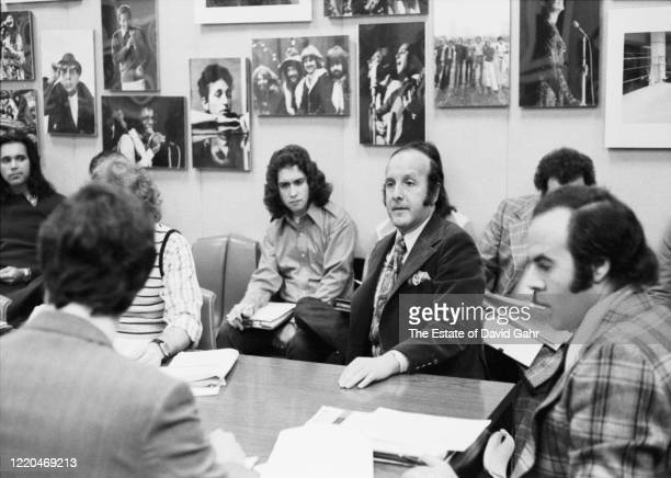 American record producer and music industry executive Clive Davis poses for a portrait on January 31 1973 at an Artist and Repertoire meeting in the...