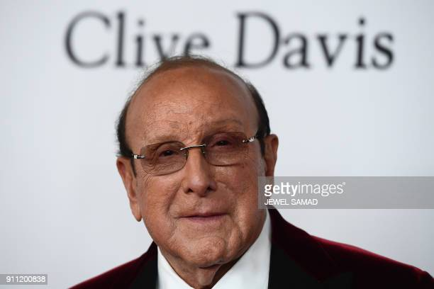 American record producer AR executive and music industry executive Clive Davis arrives for the traditionnal Clive Davis party on the eve of the 60th...