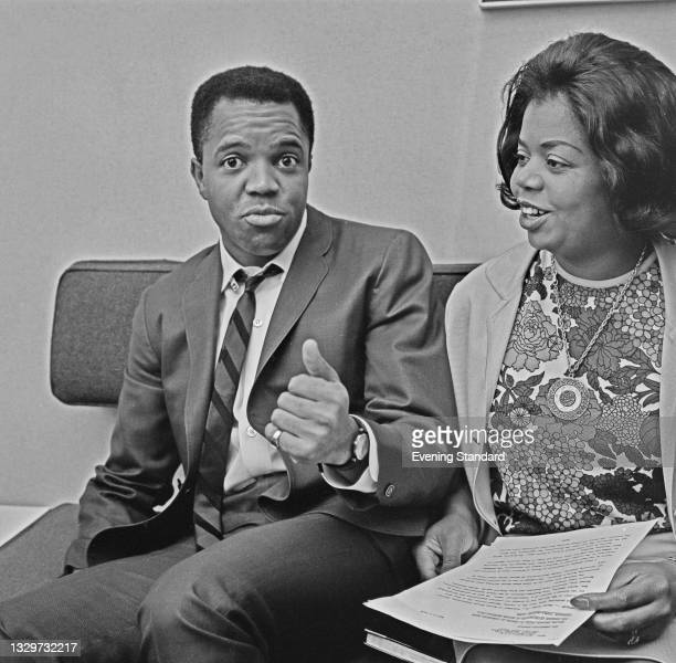American record producer Berry Gordy Jr., founder of the Motown record label, with his sister Esther Gordy Edwards, UK, 10th October 1964. Edwards is...