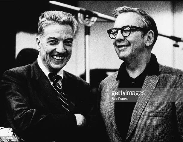 American record producer musician and music critic John Hammond poses with American pianist Steve Allen June 8 1977