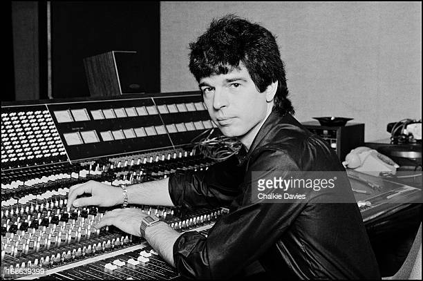 American record producer Tony Visconti photographed at the mixing desk of his Recording Studio, Good Earth, in London, 1979.