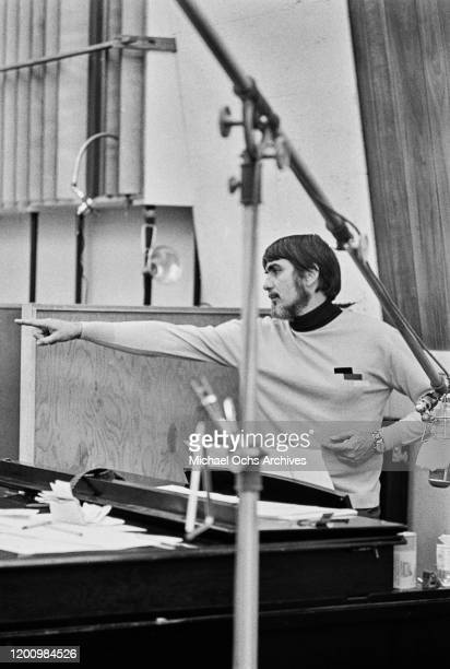 American recording engineer and producer Tom Dowd at a recording session of Aretha Franklin's studio album 'This Girl's in Love with You' at Atlantic...