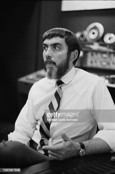 American recording engineer and record producer Tom Dowd works with American rock band The Rascals at Atlantic Studios, New York City, 30th November...