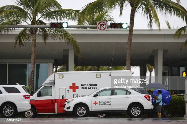 American Red Cross cars are seeing in front of Surfside Community Center after 12-storey Champlain Tower partially collapsed in Surfside, Florida,...