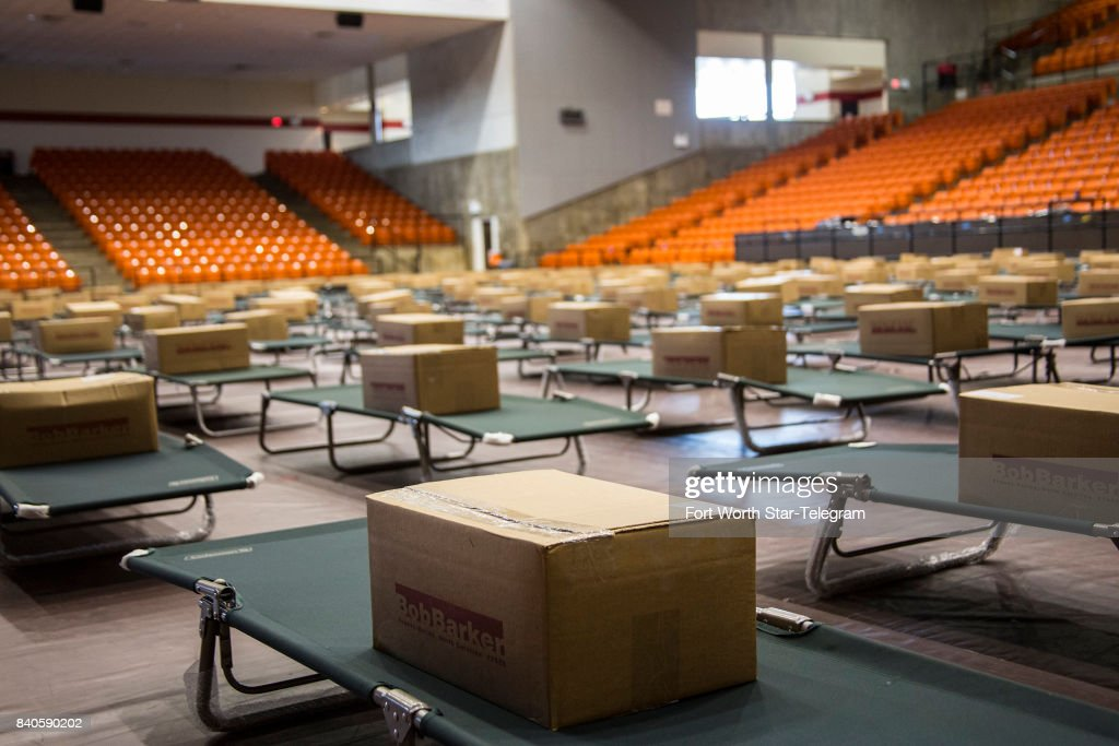 American Red Cross volunteers have prepared Wilkerson-Greines Activity Center in south Fort Worth into a short-term shelter for up to 300 potential evacuees of Hurricane Harvey. Each cot comes with a box that includes a blanket and pillow.
