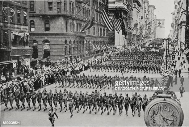 American regiments parading on Fifth Avenue before departing for France New York United States of America World War I from L'Illustrazione Italiana...